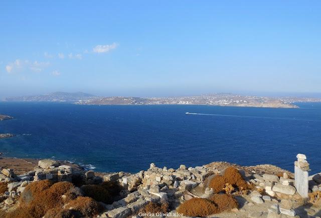 panorama greckich wysp Morze Egejskie wyspa Delos i Mykonos Grecja