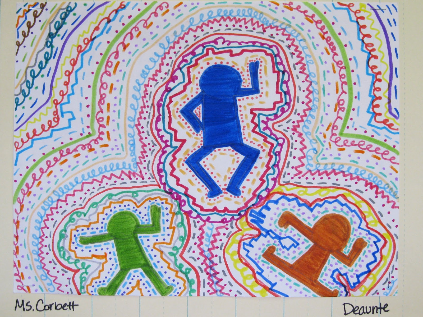 Keep Calm And Crayon Keith Haring Inspired Art Lines