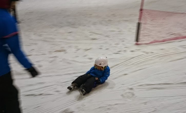 Snow Play 4 year old sledging at Chill Factore in Manchester