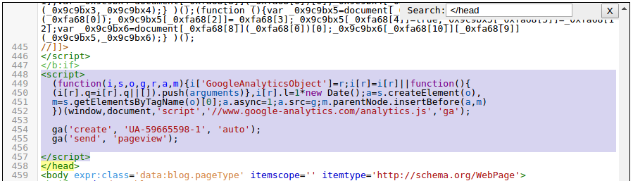 memasang kode tracking google analytics pada blog