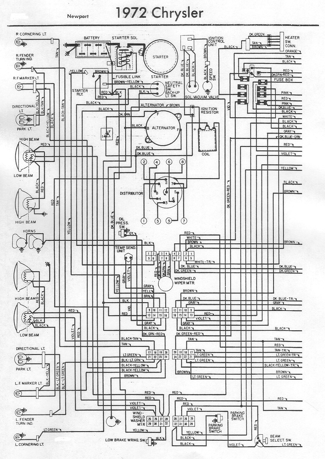 1972 Chrysler Newport Electrical Wiring Diagram | All