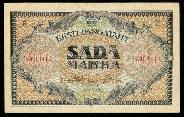 Estonian bill paper money 100 Marka banknote