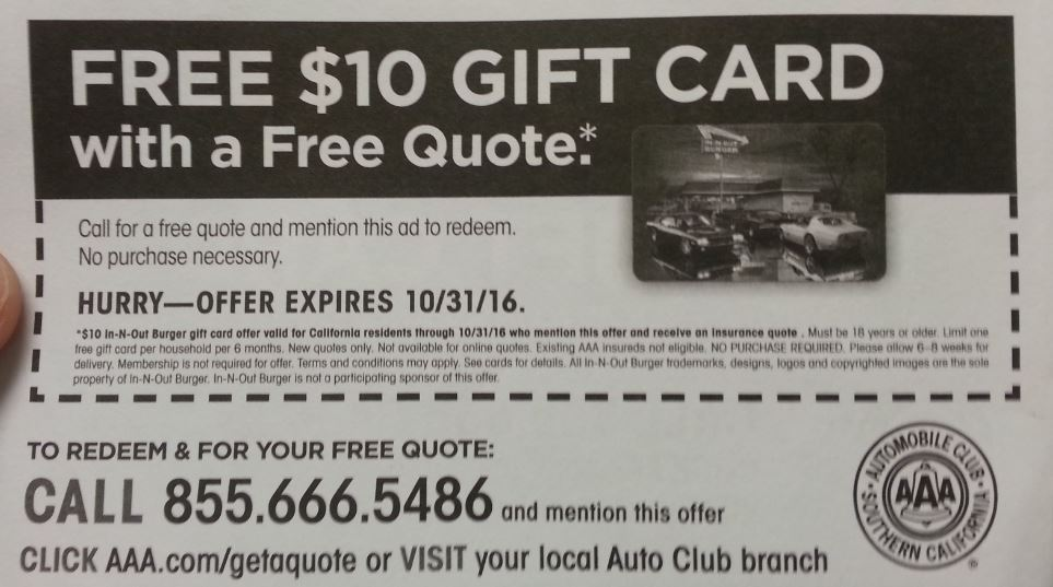 Just A Car Guy: 10 Dollar In N Out Gift Card From AAA If