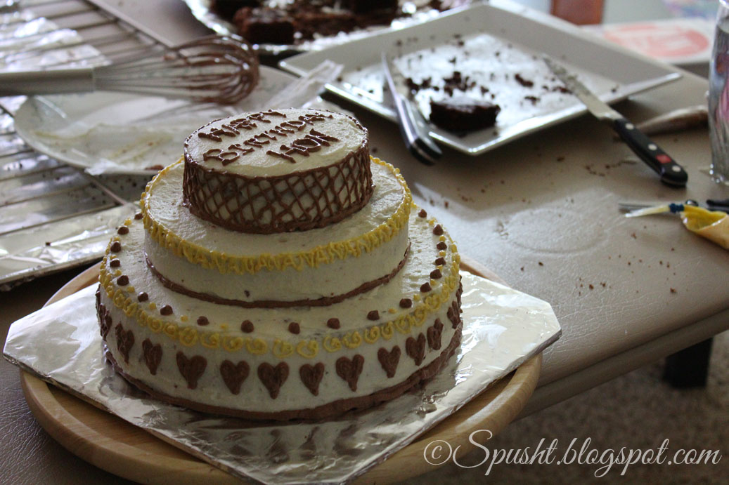 Three Layer Yellow Cake With Chocolate Frosting