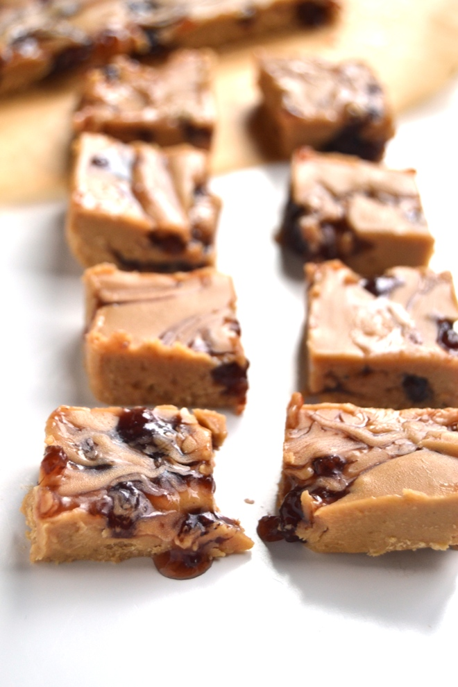 Peanut Butter and Jelly Protein Fudge is rich and creamy, is no-bake, has 5 ingredients and is stored in your freezer for a healthier treat made with coconut oil and nut butter! www.nutritionistreviews.com