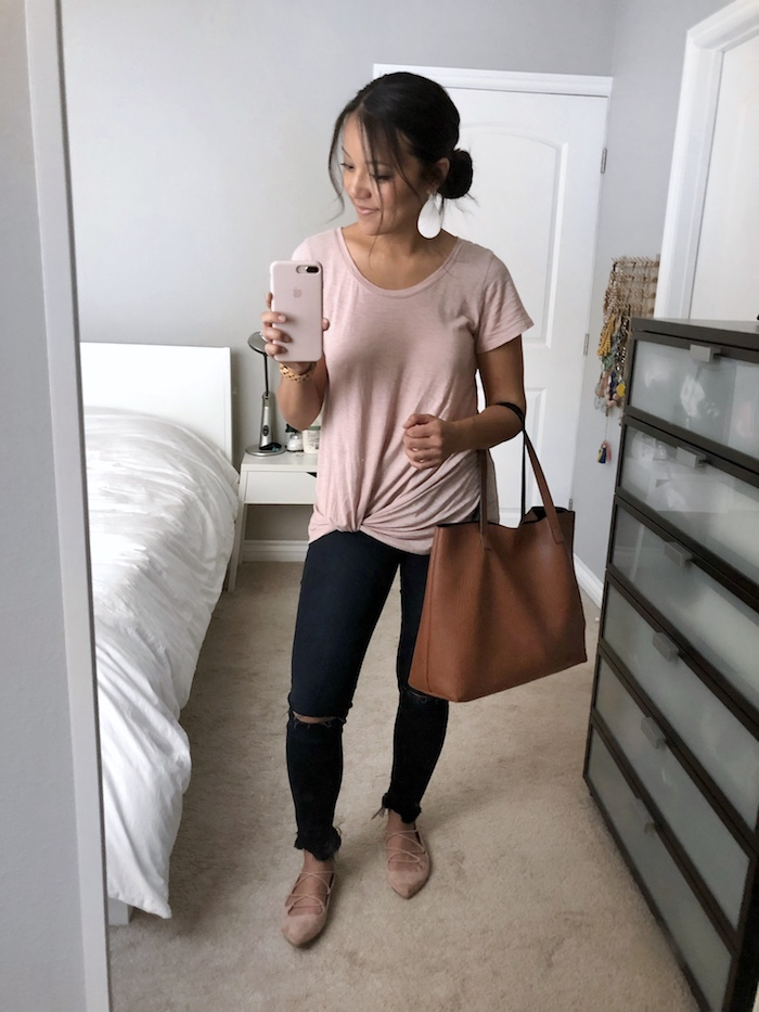 Frayed Skinnies + Blush Twist Tee + Brown Tote + lace-up flats