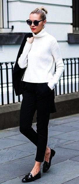 white and black fashion trends / sweater + pants + loafers + blazer