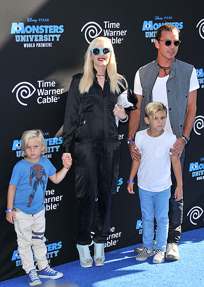 Gavin Rossdale and Gwen Stefani with children