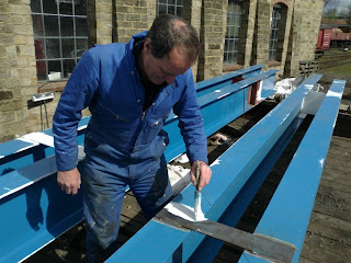 Dave painting beams for Houghwell Burn bridge