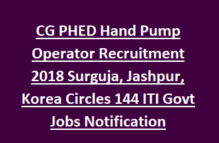 CG PHED Hand Pump Operator Recruitment 2018 Surguja, Jashpur, Korea Circles 144 ITI Govt Jobs Notification