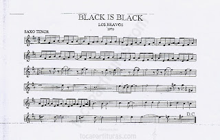 Partitura de Saxofón Tenor (y saxo soprano) en Si bemol de Black is Black Sheet Music for Tenor Saxophone (and soprano sax)