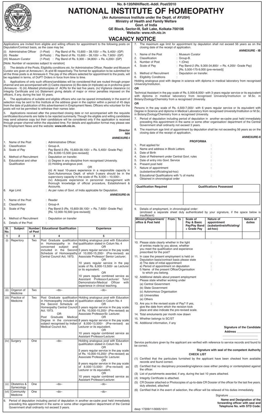 NIH recruitment 2011 Jobs Vacancy in National Homeopathy