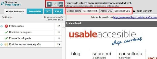 Se visualiza una página de este portal. Sobre la misma tres iconos resaltados (inspeccionar, volver a comprobar, CMS) y las opciones Mostrar página, Mostrar HTML, Activar CSS, Desactivar CSS. A la izquierda un listado de errores con iconos de error, ok y advertencia.