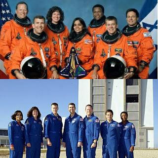 columbia space shuttle crew with kalpana chawala