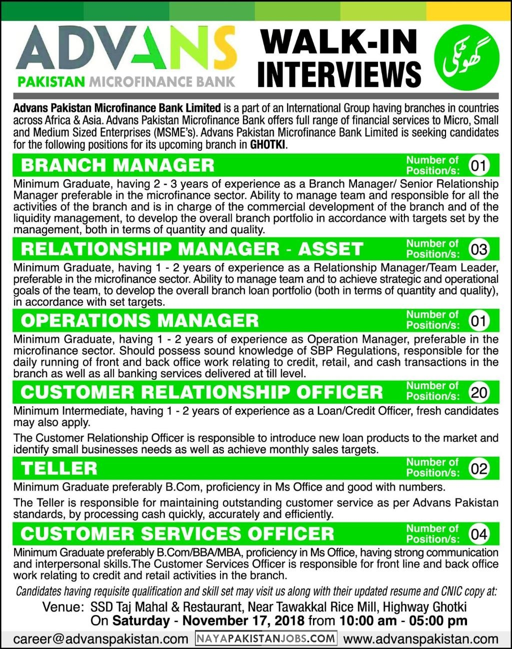 Latest Vacancies Announced in Advans Pakistan Microfinance Bank 12 November 2018 - Naya Pakistan