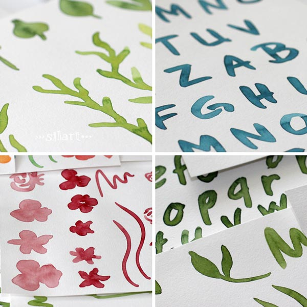 Watercolor Elements and Alphabets
