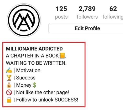 example bio for instagram, millionaire addicted