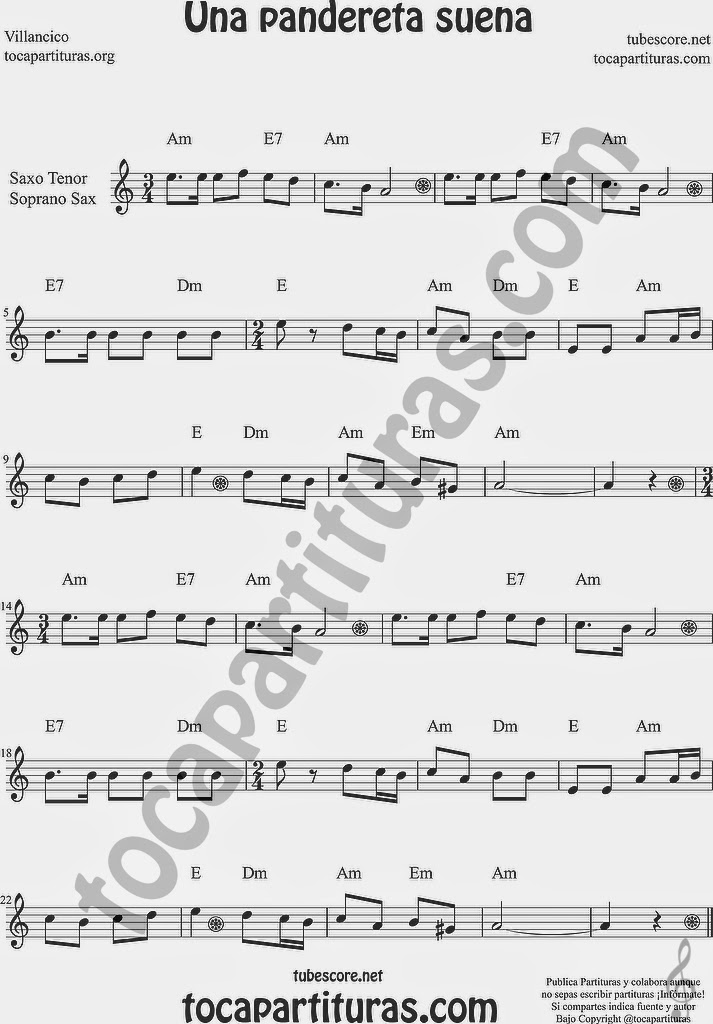 Una Pandereta Suena Partitura de Saxofón Soprano y Saxo Tenor Sheet Music for Soprano Sax and Tenor Saxophone Music Scores