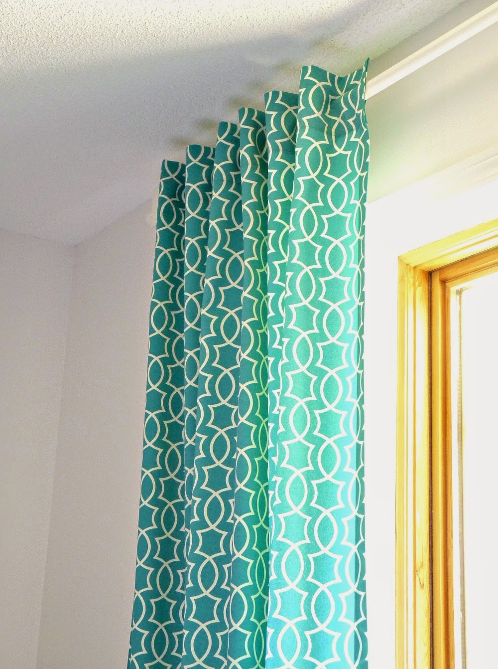 Teal printed curtains