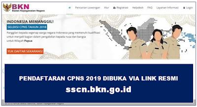 Pendaftaran CPNS 2019 Dibuka Via Link Resmi sscn.bkn.go.id