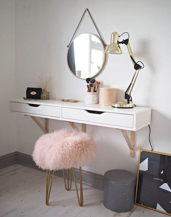 Wall Mounted Dressing Table With Mirror For Bedroom Minimalist Interior