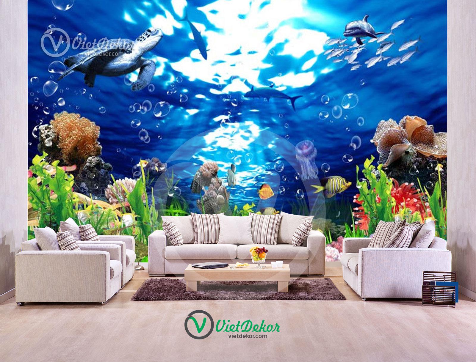 Tranh 3d đan tường phong cảnh dưới biển