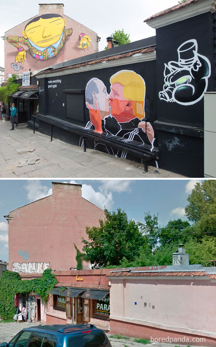 10+ Incredible Before & After Street Art Transformations That'll Make You Say Wow - Putin Kissing Trump Mural In Vilnius, Lithuania