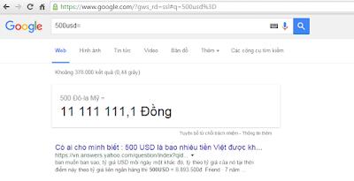 quy đổi tiền tệ đơn giản hơn với google
