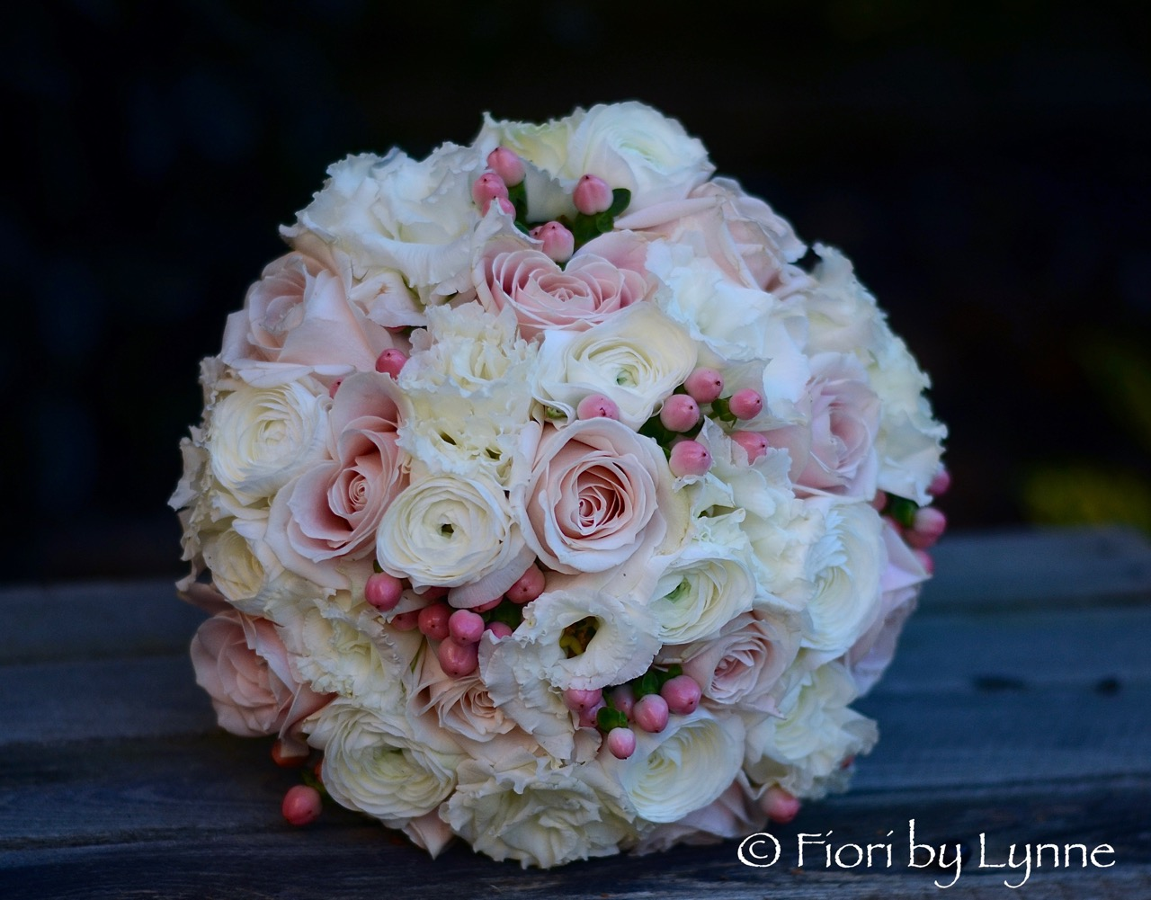 Wedding flowers blog jessicas autumnal bouquet of pale pink roses and seasonal berry with soft white lisianthus and ranunculus very soft and very pretty with a beautiful mightylinksfo