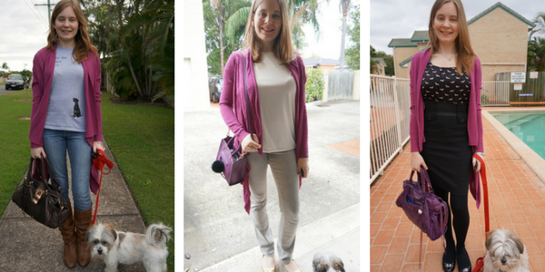 3 ways to add a purple cardigan to neutral outfits | awayfromtheblue