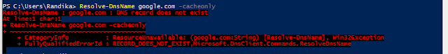 NSLookup powershell alternative command - CacheOnly