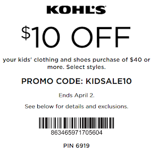 Kohls coupon $10 Off $40 Kids' clothing & Shoes