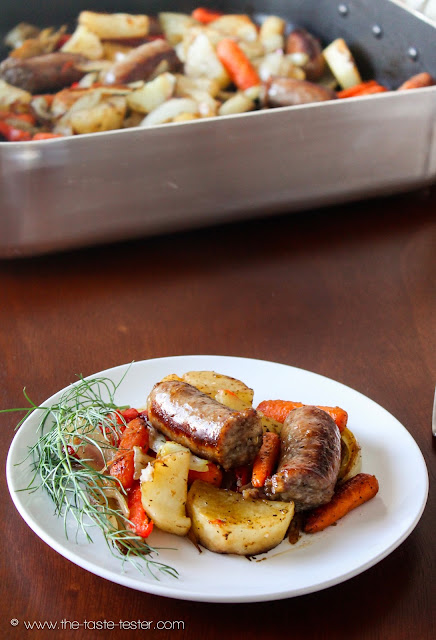 Sausage and Veggie Roast, guest post by The Taste Tester @ www.shaffer-sisters.blogspot.com #comfortfood