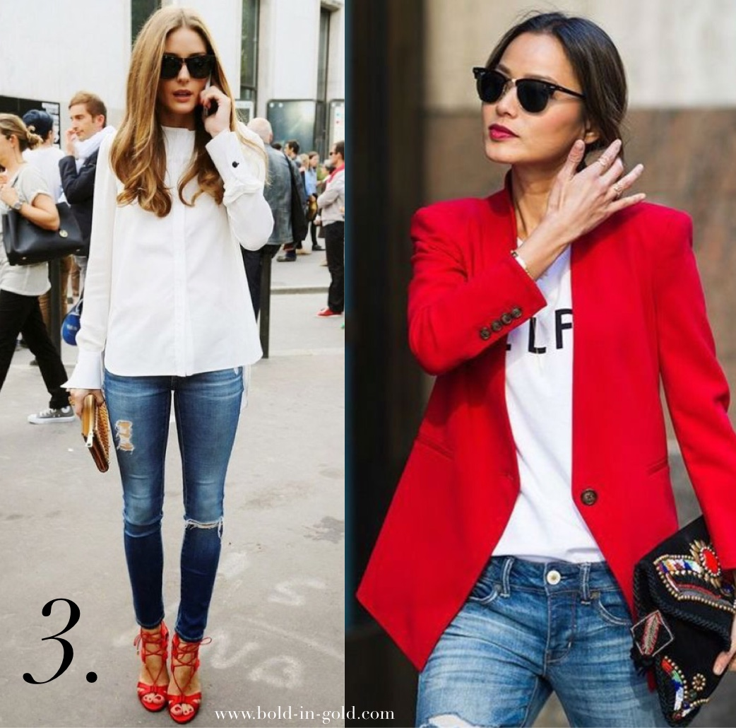 One woman in ripped jeans and red heels and one woman in red blazer