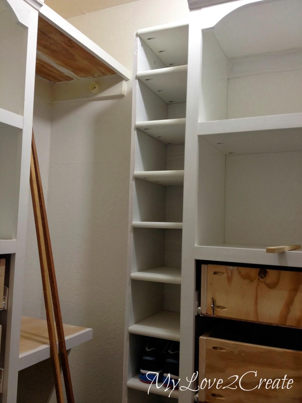 Walk In Closet Furniture Shoe Shelf Bench And Floating Shelves Master Closet