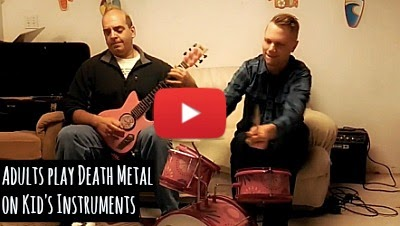 Watch these cool adult musicians consisting of Guitar designer Frank Pasquale and musician Drew Creal, unleash an incredible Slayer mash up of death metal on preschool kids instruments via geniushowto.blogspot.com cool adult kids music videos