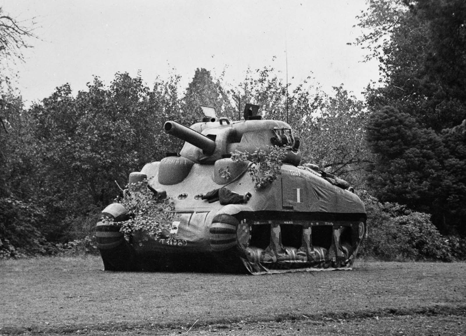 An inflatable Sherman tank, one of many dummy tanks made to deceive the enemy. Dummy tanks were used as part of Operation Fortitude, the scheme to convince the Germans that the D-Day landings would be at Calais rather than Normandy.