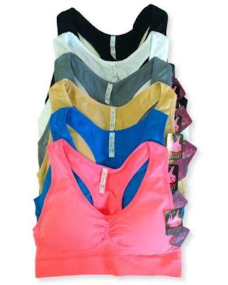 Softra women's 6 pack seamless racerback cheap padded sports bra