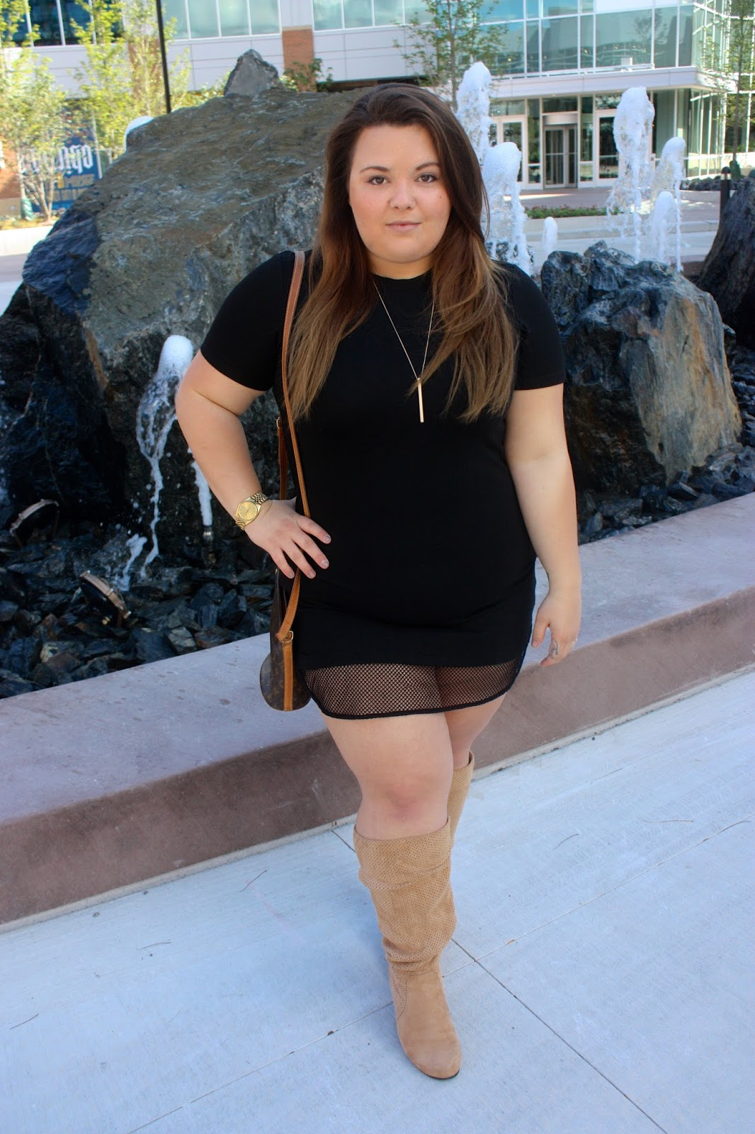 woman within, wide calf boot, thick, wide calf, Natalie Craig, plus size fashion, ps fashion, little black dress, wearing black, natalie in the city, chicago, fashion blogger, plus size fashion blogger, forever 21, perforated boots, north and clybourne, perforated shoes, mesh dress, fatshion, confidence, louis vuitton, gold watch
