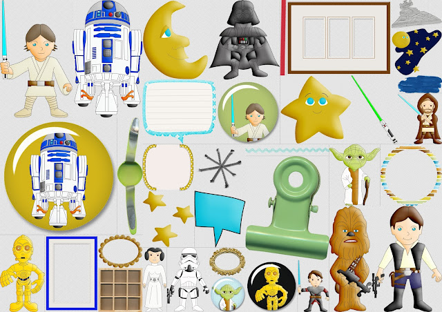 Star Wars: Kit Gratis para Scrapbook.