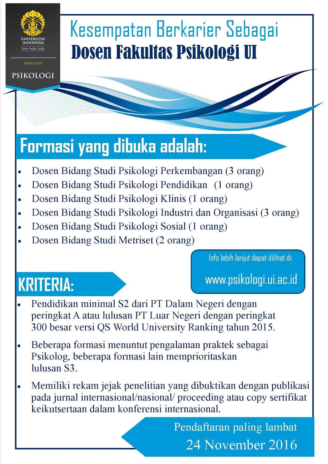 Lowongan Dosen Psikologi Universitas Indonesia