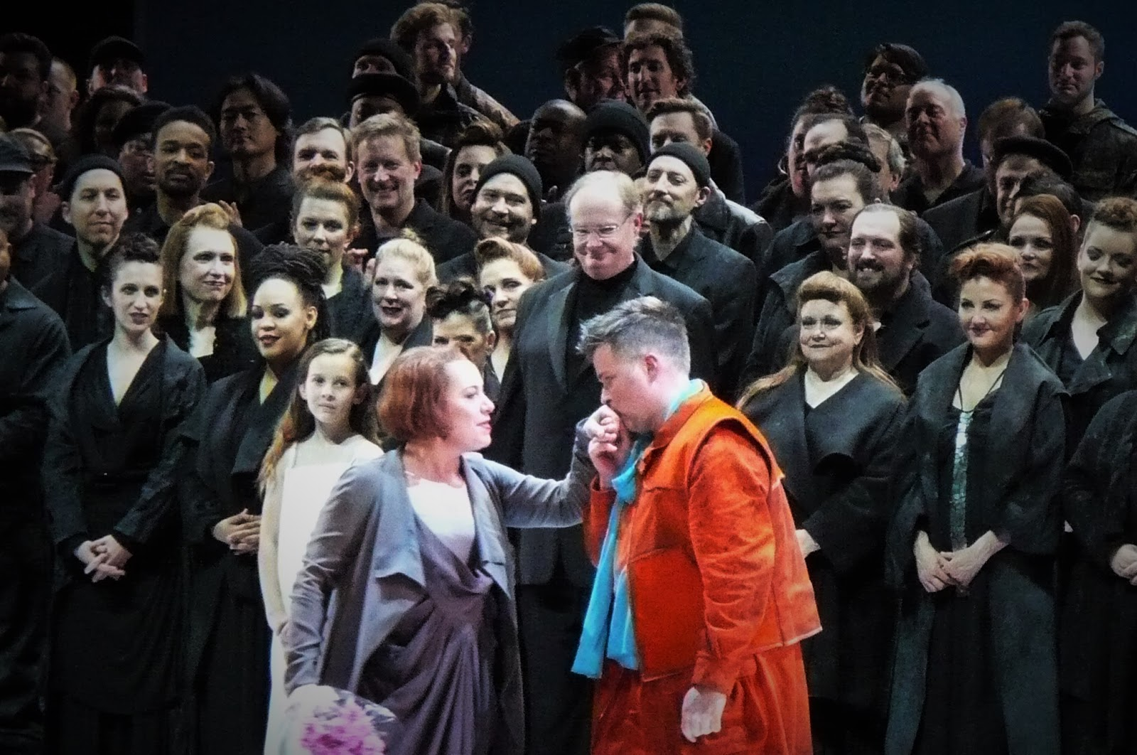 IN PERFORMANCE: Soprano NINA STEMME (Brünnhilde, center left) and tenor DANIEL BRENNA (Siegried, center right) during curtain calls for FRANCESCA ZAMBELLO's production of Richard Wagner's GÖTTERDÄMMERUNG at Washington National Opera, 22 May 2016 [Photo by the author]