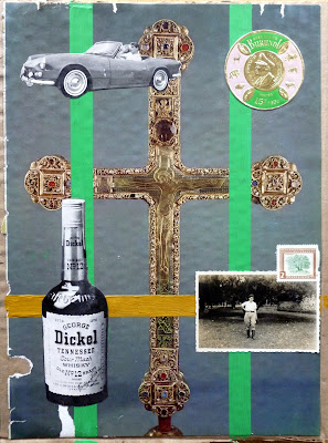 vintage photo vintage car postage stamp crucifix collage
