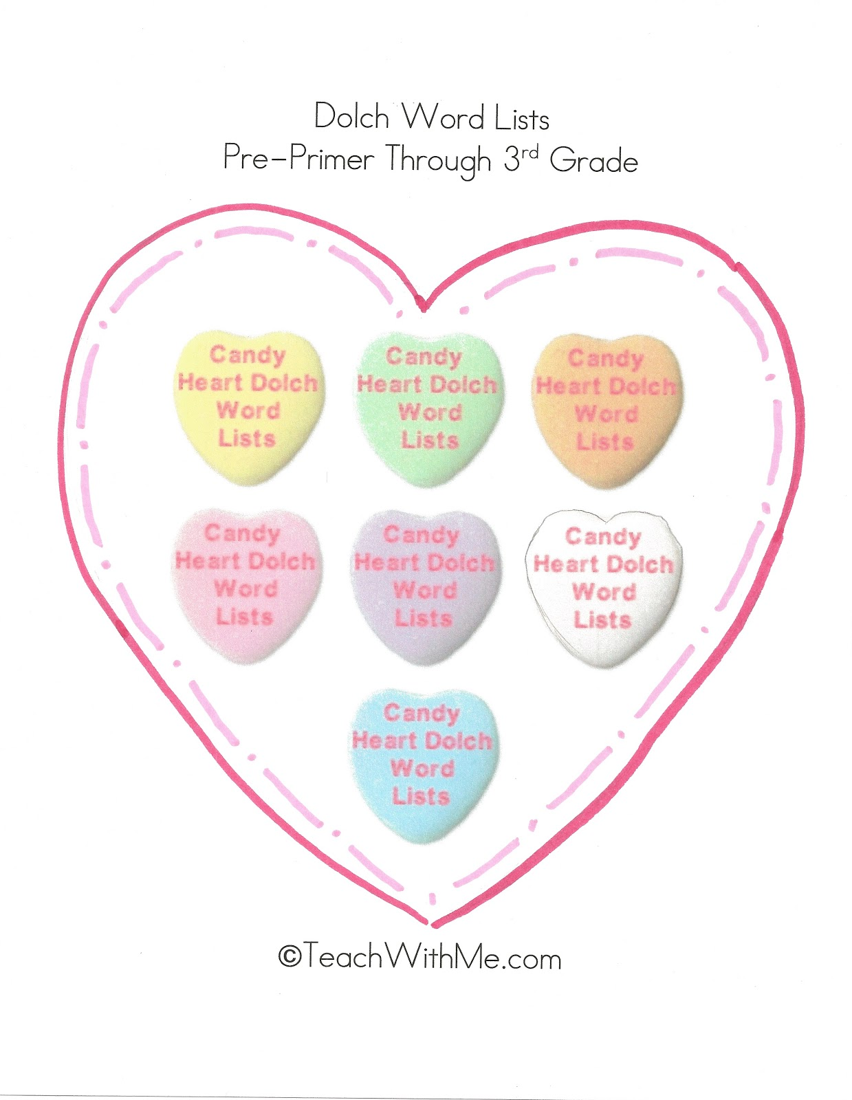Dolch Words On Candy Hearts - Classroom Freebies