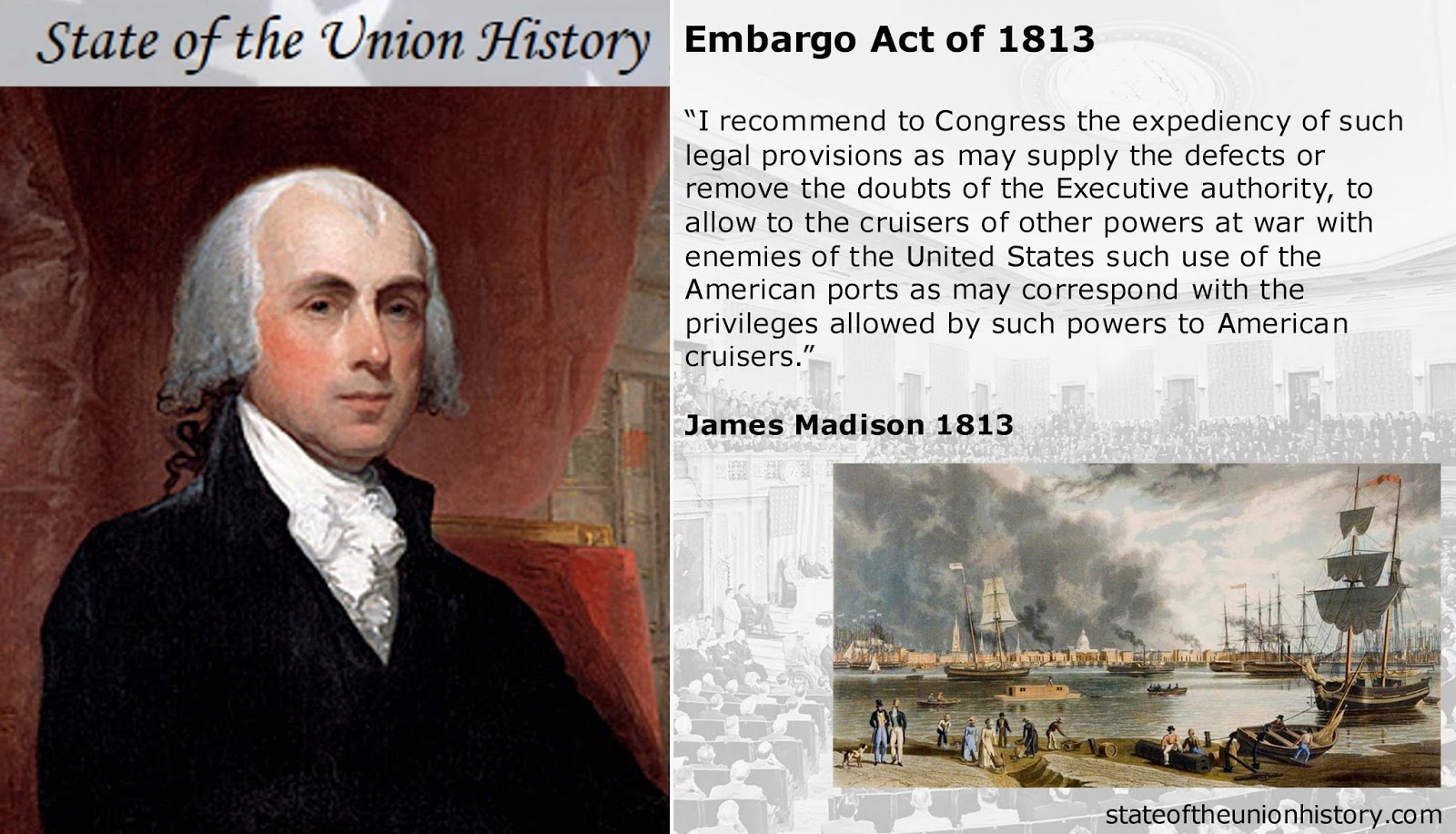 how did jefferson handle the embargo act of 1807 It was four days later that the united states congress passed the embargo act of 1807, on december 21, 1807, making the non-importation act obsolete jefferson continued to support the embargo act he saw it as an alternative to war, and he wanted to keep the united states out of conflict for as long as possible.