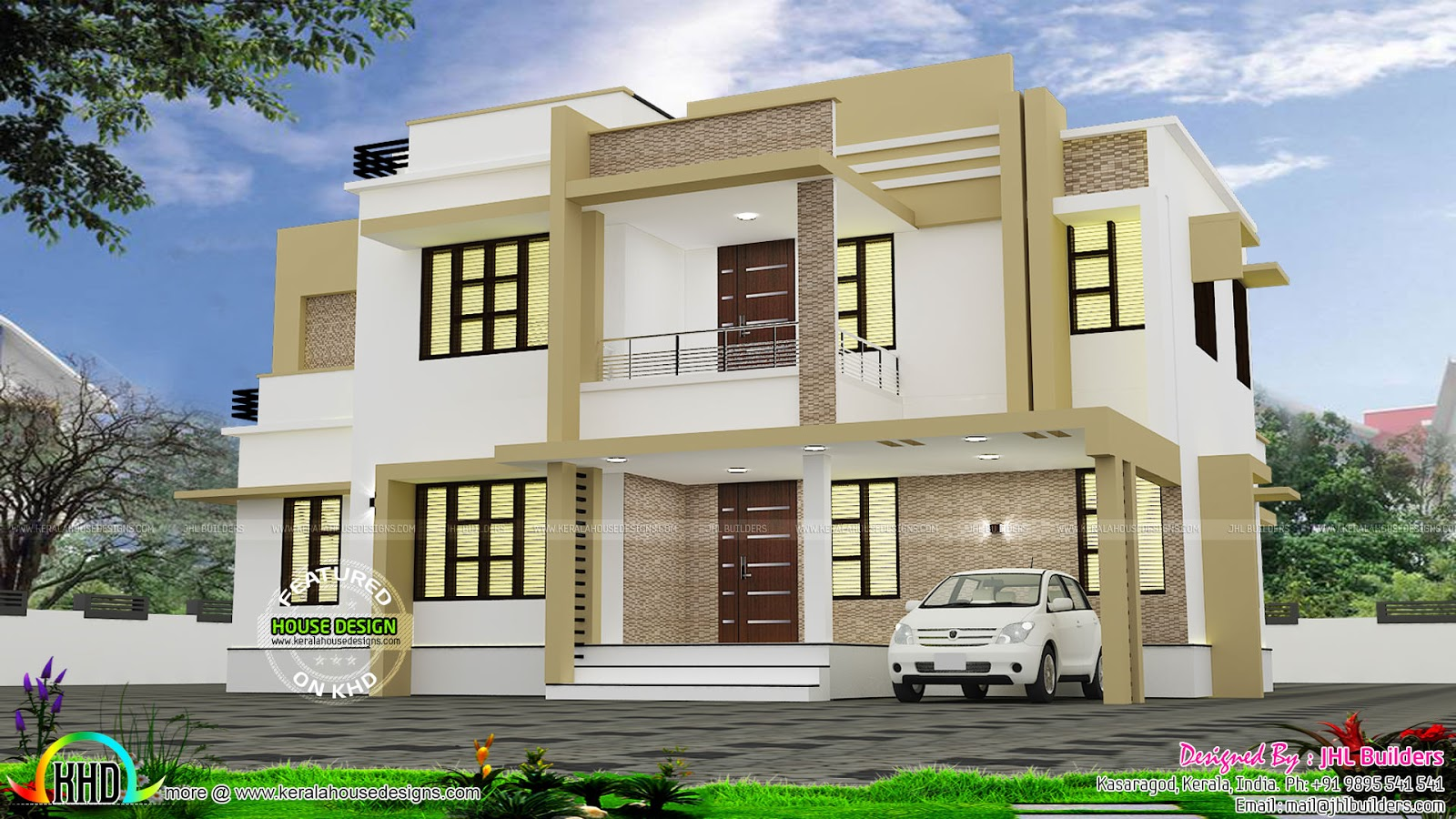 Ground Floor Modern Elevation : Modern house with interior kerala home design and floor