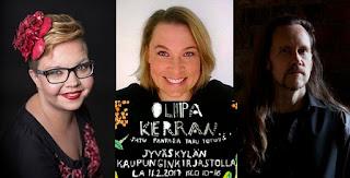 Salla Simukka (kuva Hanna Poropudas), Tittamari Marttinen sekä J-P Koskinen (kuva Jyrki Sahinoja)