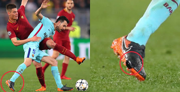 08c8d933e769 Barcelona Midfielder Busquets Wore Reinforced Boots Against Roma ...