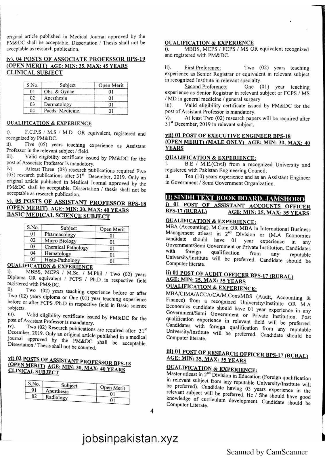 SPSC Advertisement 01/2019 Page No. 4/6