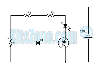 SIMPLE BATTERY MONITOR CIRCUIT DIAGRAM USING NPN TRANSISTOR BC547 | CAR BATTERY MONITOR CIRCUIT